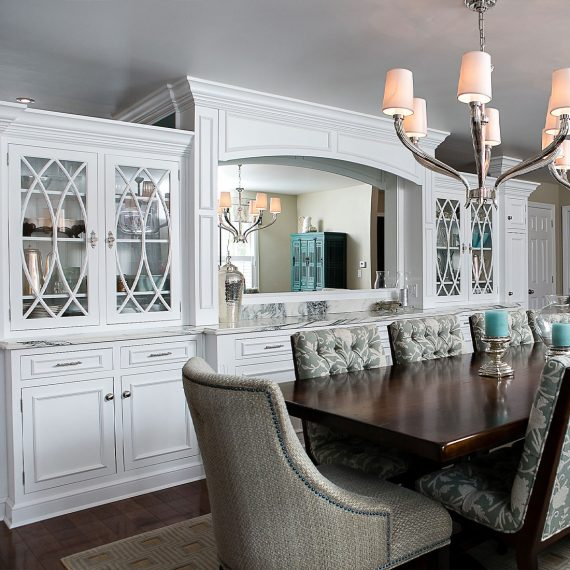 custom dining storage with white marble buffet