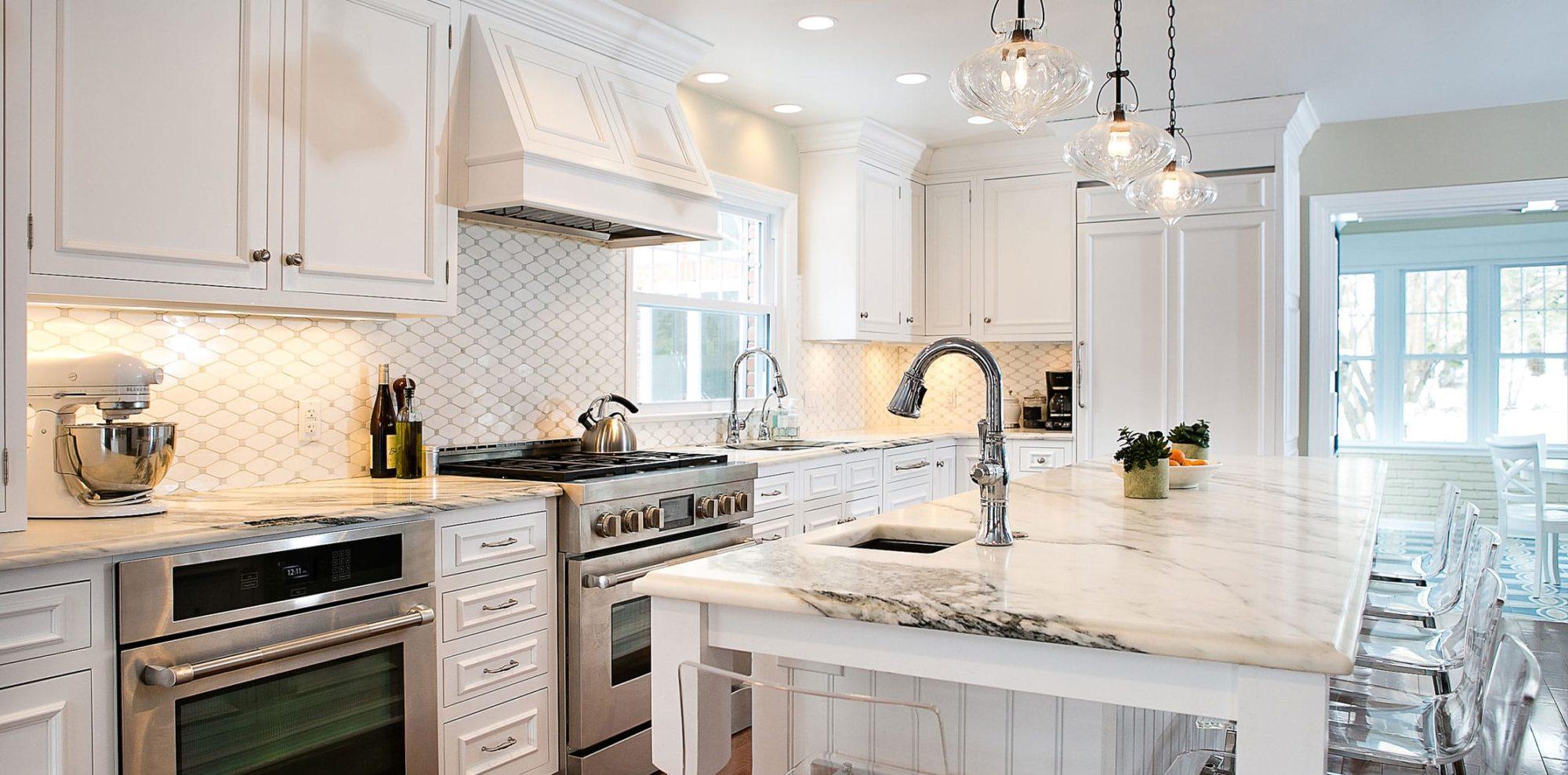 unique backsplash in white open concept kitchen