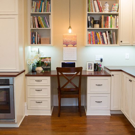 Built in office space in renovated kitchen