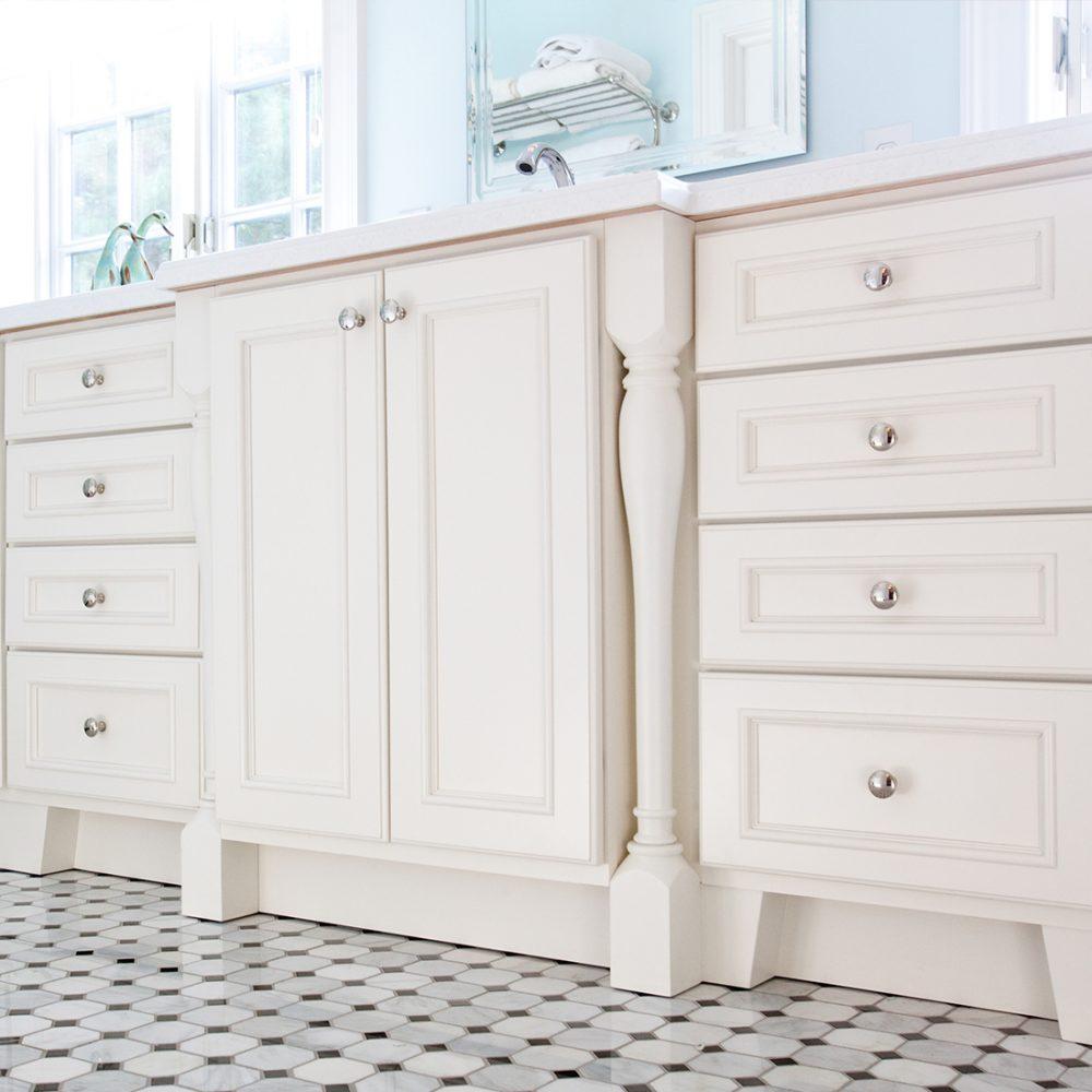 Detail of white custom bath vanity
