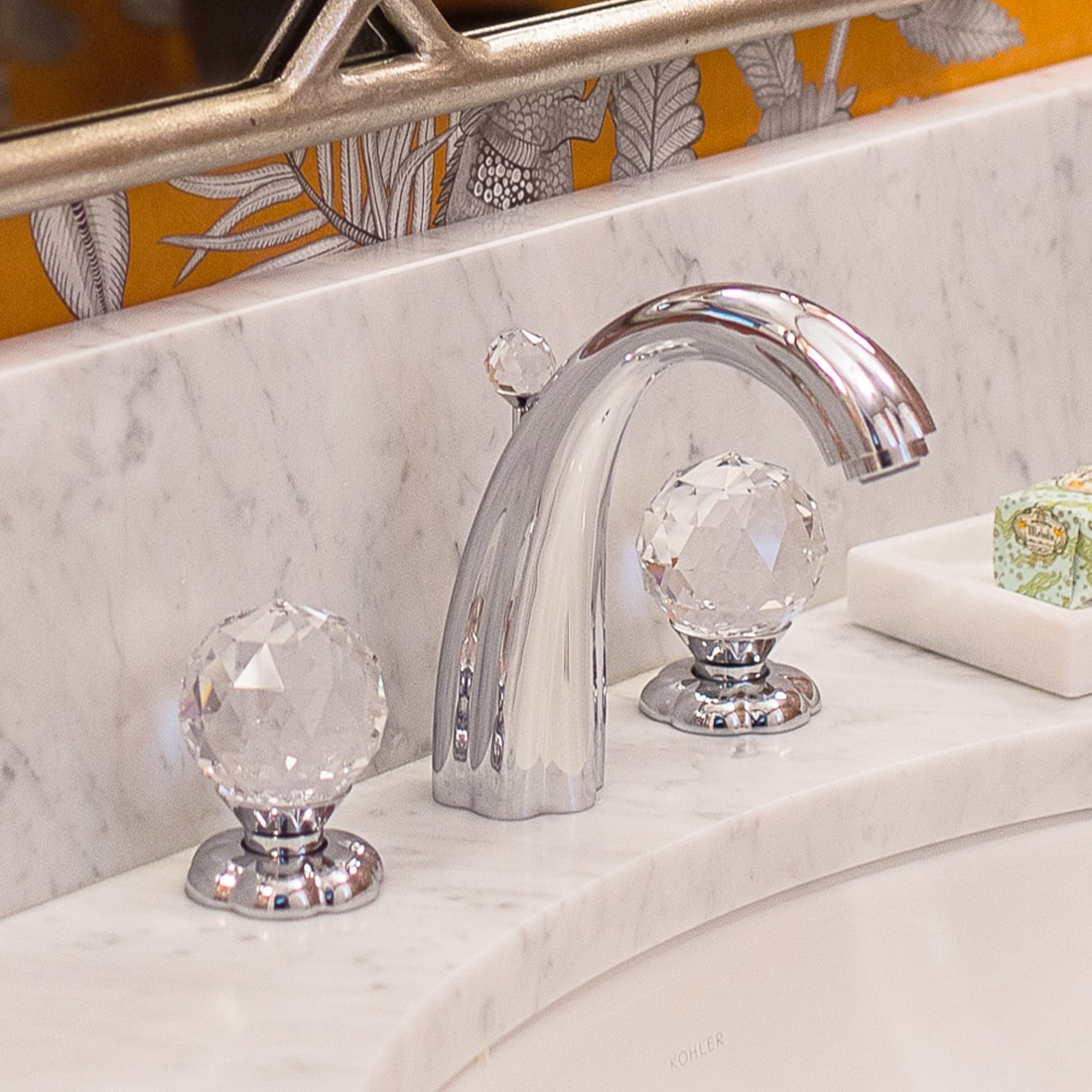 Crystal ball faucet handles in renovated bath