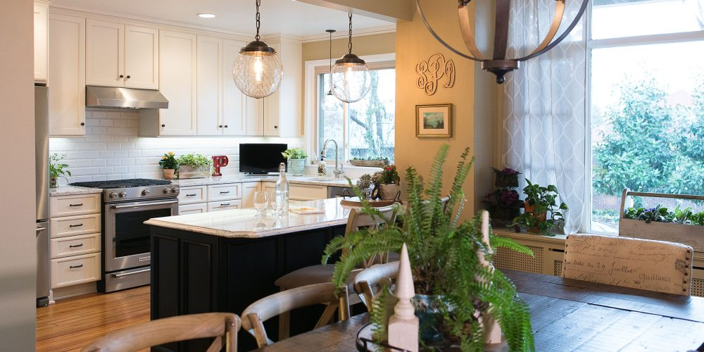 Warm woods and white lines in renovated kitchen